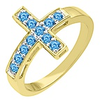 Color Stone Cross Ring