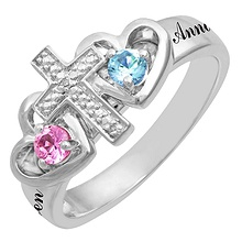Color Stone Couple's Heart Cross Ring