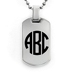 Monogram Dog Tag Necklace Titanium