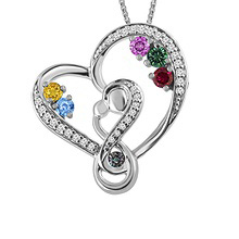 Color Stone Diamond Mother's Necklace