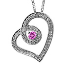 1/6 Ct. tw Diamond Color Stone Heart Necklace