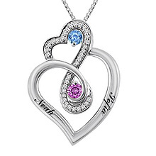 1/10 Ct. tw Diamond Color Stone Couple's Heart Necklace