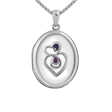 Color Stone Couple's Locket Necklace Sterling Silver