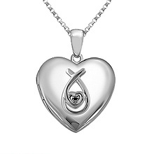 Color Stone Heart Locket Necklace Sterling Silver