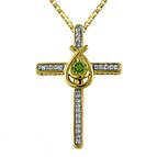 Diamond and Color Stone Cross Necklace