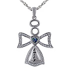 1/20 Ct. tw Diamond Color Stone Angel Necklace