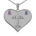 Color Stone Heart Necklace Sterling Silver