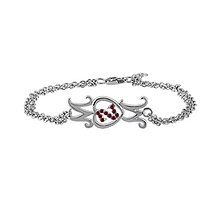 Color Stone Mother's Heart Bracelet Sterling Silver