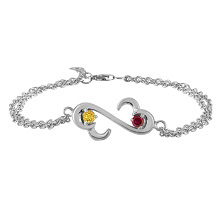 Color Stone Couple's Heart Bracelet Sterling Silver