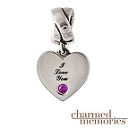 Charm Memories Color Stone Heart Charm Sterling Silver