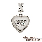 Charmed Memories Couple's Heart Locket Sterling Silver Charm