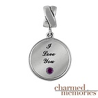 Charmed Memories Color Stone Circle Charm Sterling Silver