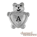 Charmed Memories Teddy Bear & Heart Sterling Silver Charm