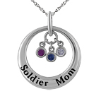 Color Stone Mother's Necklace Sterling Silver
