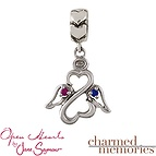 Charm Memories Open Heart Angel Charm Sterling Silver