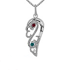 Color Stone Diamond Couple's Necklace