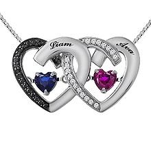 Colors in Rhythm Couple's Heart Necklace Color Stone
