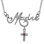 Color Stone Mother's Cross Necklace