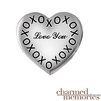 Charmed Memories Couple's XO Heart Charm Sterling Silver