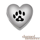 Charmed Memories Heart Paw Charm Sterling Silver