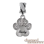 Charmed Memories Dangling Heart Paw Charm Sterling Silver
