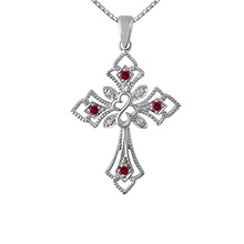 Color Stone Heart Cross Necklace