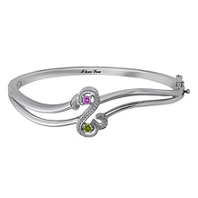 Diamond and Color Stone Heart Bangle Bracelet Sterling Silver