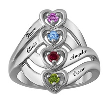 Color Stone Mother's Heart Ring