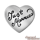 Charmed Memories Just Married Heart Charm Sterling Silver