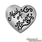 Charmed Memories Maid of Honor Heart Charm Sterling Silver