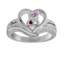 1/20 Ct. tw Diamond Color Stone Couple's Heart Ring