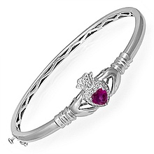 Color Stone Claddagh Bangle Bracelet