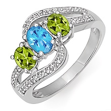 Color Stone Diamond Three Stone Ring
