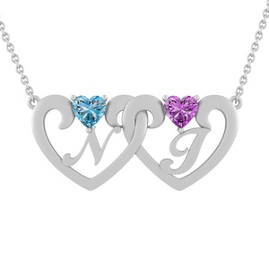 Color Stone Couple's Initial Necklace