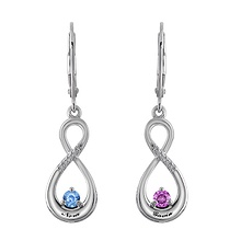 Color Stone Couple's Drop Earrings