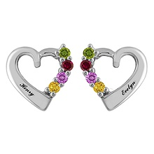 Color Stone Mother's Heart Earrings