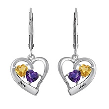 Color Stone Couple's Heart Earrings