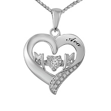 Diamonds in Rhythm Mother's Heart Necklace 1/20 Ct. tw Diamond