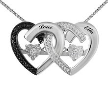 Diamonds in Rhythm Couple's Heart Necklace 1/6 Ct. tw Diamond