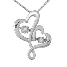 Diamonds in Rhythm Couple's Heart Necklace 1/20 Ct. tw Diamond
