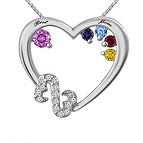 1/20 Ct. tw Diamond Color Stone Mother's Heart Necklace