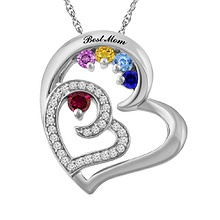 1/6 Ct. tw Diamond Color Stone Mother's Necklace