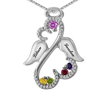 1/8 Ct. tw Diamond Color Stone Angel Heart Necklace