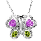 Color Stone Butterfly Necklace