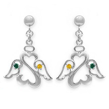 Color Stone Angel Heart Drop Earrings