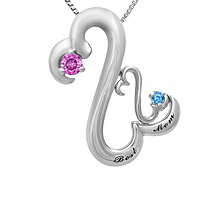Color Stone Mothers Heart Necklace