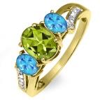 Color Stone Three Stone Ring