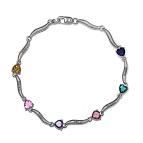 Color Stone Mothers Heart Bracelet
