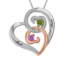 Diamond and Color Stone Couples Heart Necklace Sterling Silver