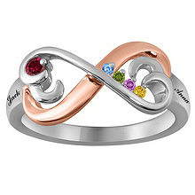 Color Stone Mother's Heart Ring Sterling Silver